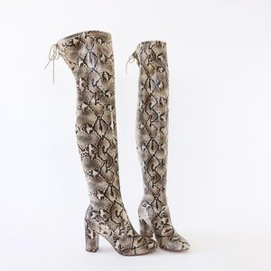 7.5 snivy animal print over the knee stretch boots